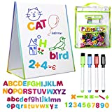 Magnetic Easel and Whiteboard for Kids – 4 Dry Erase Markers, 72 Magnet Numbers and Letters, and Bonus Carrying Bag – Table Top Educational Children's Play Set - by LittleMag