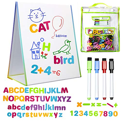 Magnetic Easel and Whiteboard for Kids – 4 Dry Erase Markers, 72 Magnet Numbers and Letters, and...
