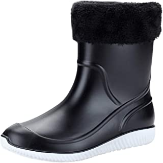 Tube Rain Boots Work Shoes Camouflage Sleeky Non-Slip Waterproof High Top Enjoy Up to 80% Discount Black Without Laces, Shoes Boot for Mens, FULLSUNNY