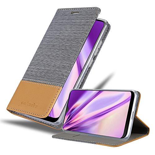 Cadorabo Hülle für HTC Desire 19+ in HELL GRAU BRAUN - Handyhülle mit Magnetverschluss, Standfunktion & Kartenfach - Hülle Cover Schutzhülle Etui Tasche Book Klapp Style