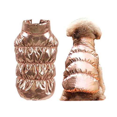 Ropa de perro caliente de invierno forro polar interior Bulldog Pet Chaleco cachorro traje de perro Chaquetas a prueba de viento 8 colores ropa para perros medianos grandes - dorado