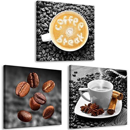 decomonkey Bilder Kaffee Coffee 60x20 cm 3 Teilig Leinwandbilder Bild auf Leinwand Vlies Wandbild Kunstdruck Wanddeko Wand Wohnzimmer Wanddekoration Deko Küchenbilder