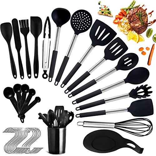 Utensilios de Cocina de Silicona,Utensilios de Cocina15 piezas y unos prácticos complementos,durable,resistente al calor,no tóxico,seguro y ecológico Juego de utensilios de cocina