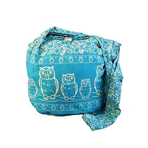 BTP! Schultertasche / Umhängetasche, Eulen-Design, Hippie-/Boho-Stil, groß, Blau (Blaugrün Of6), Large