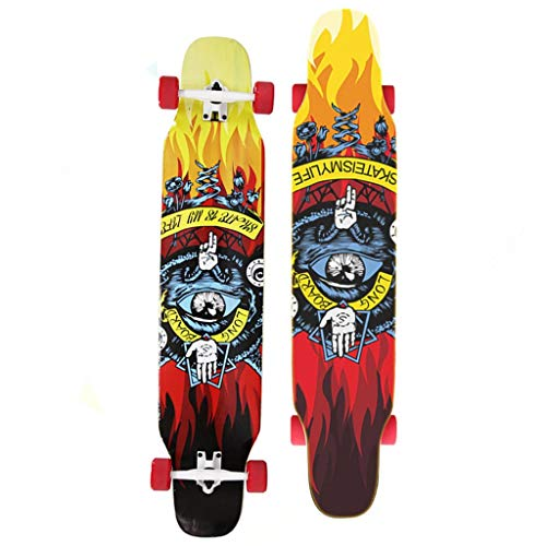 TYXTYX Longborad Skateboard 46 Zoll Komplette Drop Down durch Deck Cruiser Pro Longboard 8-Layer-Maple und High Rebound PU-Räder zum Carvenieren von Freestyle-Fahrten Downhill-Cruising