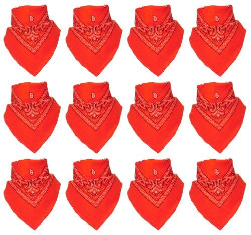 Lot de 12 Bandanas avec motif Paisley original | Couleur au choix, 12 Orange, One Size