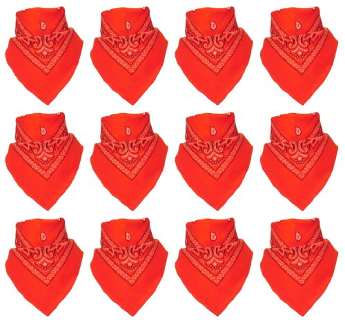 Lot de 12 Bandanas avec motif Paisley original | Couleur au choix, 12 Orange, One Size