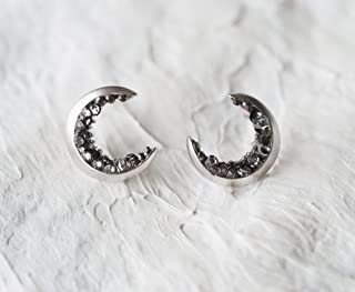 Silver Plated Crescent Moon Stud Earrings
