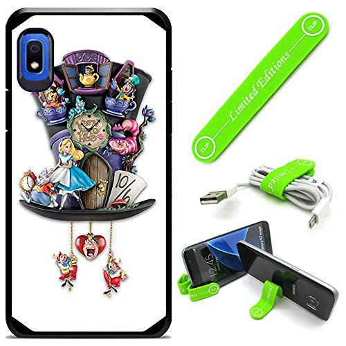 Hybrid Rugged Hard Cover Case Compatible with Galaxy [A10E] - Alice in Wonderland Hatclock (with Free Phone Stand Gift!)