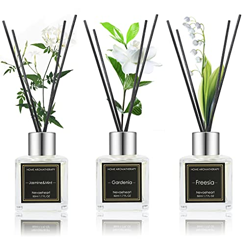 NEVAEHEART Reed Diffuser Set, Gardenia/Freesia/Jasmine & Mint, 1.7OZ x 3 Packs Reed Diffuser, Oil Diffuser Sticks, Home Fragrance Products, Fragrance Diffuser with Gift Box