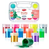 DACO Kids Paint Set Duella, Kids Art Set Includes 12 Neon and Metallic Gouache Paint 0.7 fl.oz (20ml), with Travel and Storage Box, Washable Paint for Kids, Beginners, Paint Supplies, Finger Paint