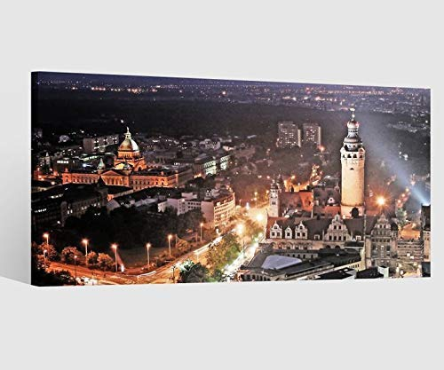 Leinwandbild Leinwand Skyline Leipzig Stadt alt Bild Bilder Wandbild Holz Leinwandbilder Kunstdruck vom Hersteller 9AB662, Leinwand Größe 1:80x40cm