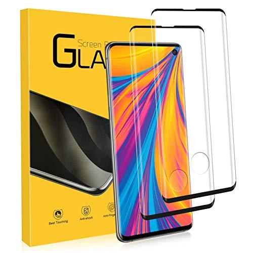NONZERS Verre Trempé pour Samsung Galaxy S10, [2 Pack] 9H Dureté, 3D Couverture Complète Protecteur d'Écran en Verre Trempé, Compatible avec Le capteur d'empreinte Digitale, Vitre pour Samsung S10