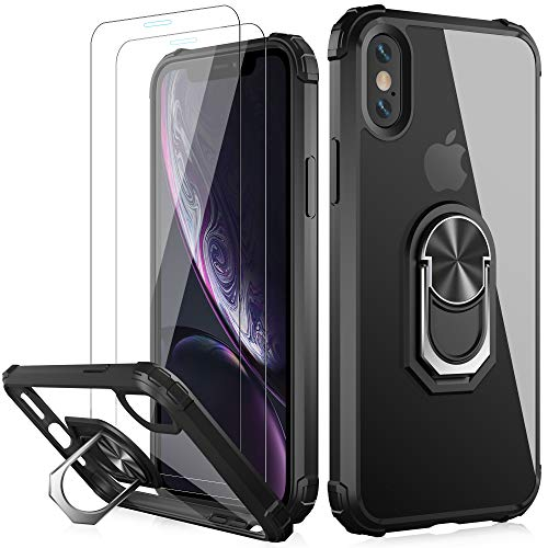 LUMARKE iPhone Xs Max Case with Tempered Glass Sreen Protector,Pass 16ft Drop Test Military Grade Clear Cover with Magnetic Kickstand Car Mount Holder,Protective Phone Case for iPhone Xs Max Black