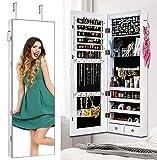 ikkle Armario para Joyas,Gabinete para joyas montado en la pared/puerta, espejo de longitud completa, Organizador de joyerías con cerradura para anillos, pendientes,pulseras, broches y maquillaje