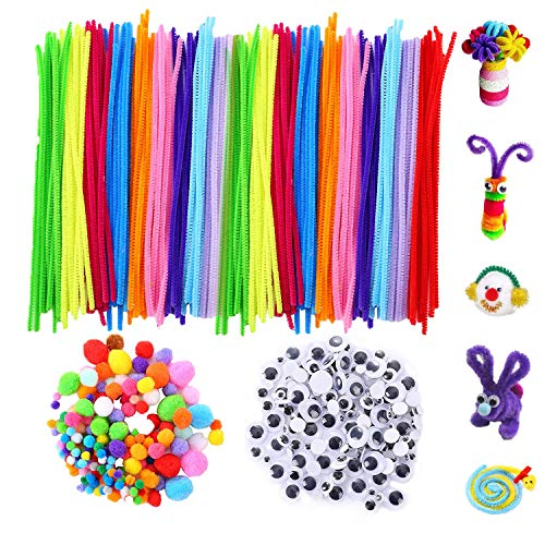 VABNEER Pipe Cleaners Crafts Set 500 Pcs Pipe Cleaners Chenille Stem, Pompoms and Googly Wiggle Eyes for Craft DIY Art Supplies Decoración Hecha a Mano