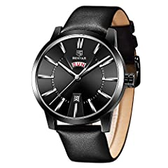 ⌚ ELEGANT AND BUSINESS STYLE WRISTWATCH: BY BENYAR provides a business designer watch for men. This men wrist watch comes with 100% strong glass and elegantly textured black dial. Black Leather Band and Stainless Steel case cover. The dial has a buil...