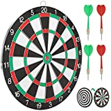 Tompig Dart Board, Double-Sided Available Dartboard Backboard with 4 Darts Metal Tip Set Indoor Game Bristle Dart Board Set for Adult, Dart Game Toys for 12 Year Old Boys Kids, 12 in