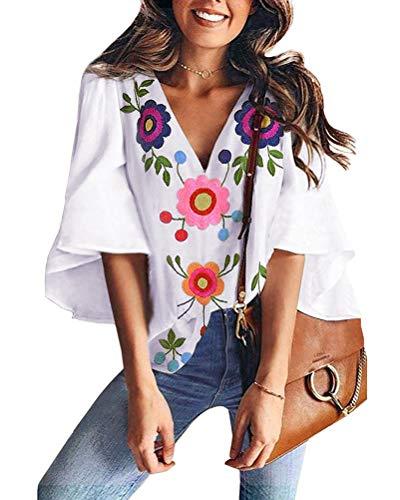 ShallGood Damen Chiffon Bluse 3/4 Arm Tunika Blusen V Ausschnitt Leicht Asymmetrisch Shirt mit Volant Trompetenärmeln A Weiß DE 38