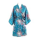 YUAKOU Kimono Mujer Bata de Vestir Novia Dama de Honor Saten Flores Batas Cortos Despedida de Soltera