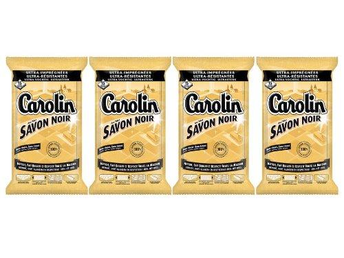 Carolin Lingettes Savon Noir x 15 Lot de 4
