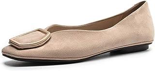 バレエシューズ ローヒール パンプス ぺたんこ靴 婦人用 ヴィンテージ レデース スエード 履きやすい 柔らかい 疲れない 痛くない フォーマル 通勤 通学 5色 ブラック