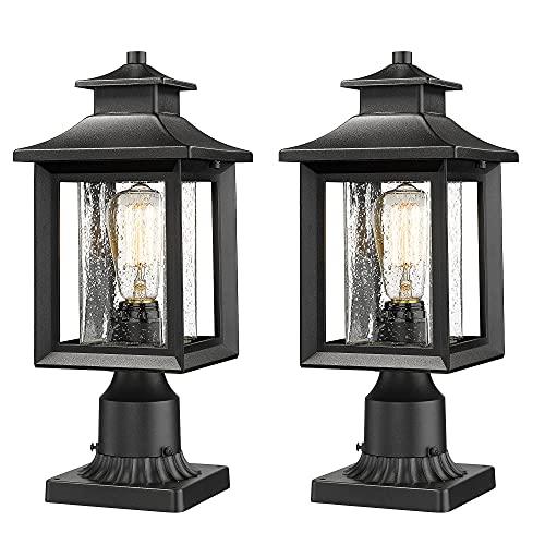 Outdoor Post Light, Set of 2 Large Exterior Post Lantern 17.3