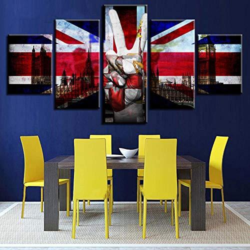 ZhuHZ Poster Dekoration Hauptschlafzimmer Wandkunst 5 Blatt HD-Druck Britische Flagge modulares Bild Sieg Schere Handmalerei auf moderner Leinwand