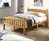 BETTER HOME PRODUCTS 100% Solid Wood Pine Full Bed Frame (Natural, Full Size)