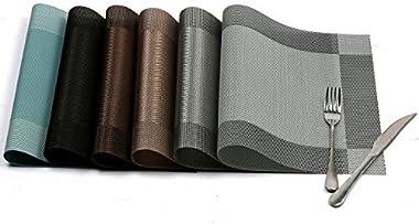 U'Artlines Placemat, Crossweave Woven Vinyl Non-Slip Insulation Placemat Washable Table Mats Set of 6 (6pcs placemats, Si