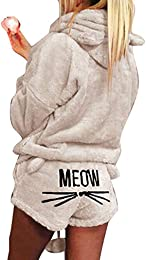 Femme Chat Meow Pyjama Hoodies + Shorts Outfit Hiv
