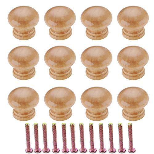 Sweieoni Pomelli per Mobili 12 pezzi Manopola per mobili rotonda in legno con Vite per Cassetti, per Armadi per Porta dell'armadio 34 mm