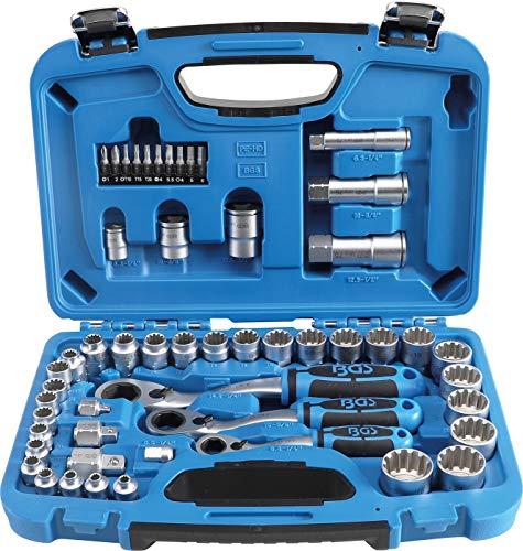 BGS 2181 | Durchsteck-Steckschlüssel-Satz | 52-tlg. | Gear Lock | SW 4,5 - 25 mm | inkl. Kunststoff-Koffer
