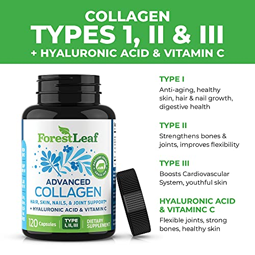 51nBWho7G7S. SL500  - Advanced Collagen Supplement, Type 1, 2 and 3 with Hyaluronic Acid and Vitamin C - Anti Aging Joint Formula - Boosts Hair, Nails and Skin Health - 240 Capsules - by ForestLeaf