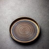 セラミックティートレイティーテーブル手作りサービングトレイカンフーティーアクセサリー 储水式茶盘 (Color : Round trays)