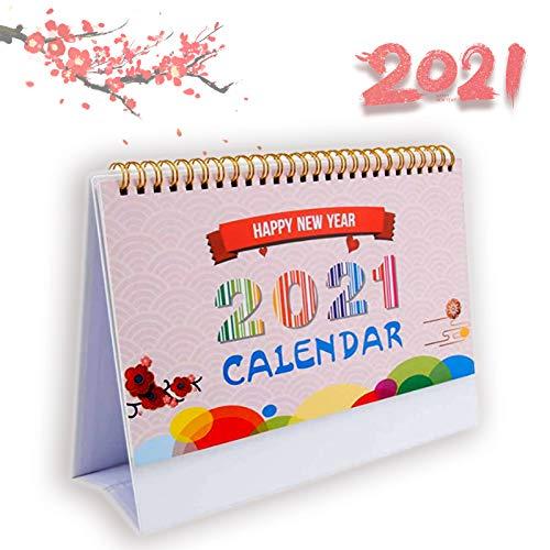 Calendario de escritorio 2021, calendario de escritorio mensual con notas y lista de tareas para la familia, encantador calendario plegable para el hogar, la oficina la escuela (color)