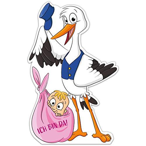 Großer Storch mit Baby › Ich bin da! › Inkl. Stab aus Holz › Geschenk zum Stecken für Innen und Außen › Klapperstorch Geburtsgeschenk › Wetterfest (Mädchen)