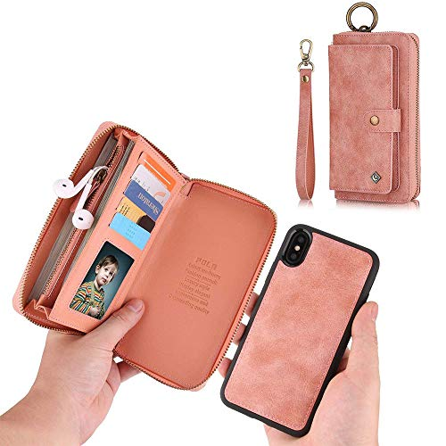 JAZ iPhone XS Wallet Case, iPhone X Wallet Case Zipper Purse Detachable Magnetic 14 Card Slots Money Pocket Clutch Leather Wallet Case Cover for iPhone X(2017) /iPhone XS(2018) 5.8 Inch - Rose Gold