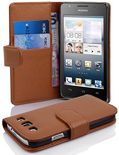 Cadorabo Hülle für Huawei Ascend G525 / G520 - Hülle in Cognac BRAUN – Handyhülle mit Kartenfach aus struktriertem Kunstleder - Hülle Cover Schutzhülle Etui Tasche Book Klapp Style