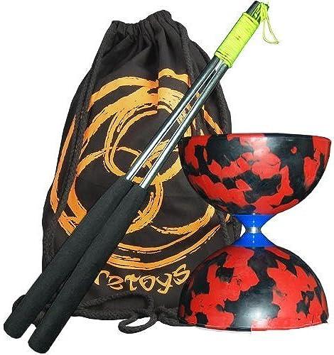 Venta al por mayor barato y de alta calidad. Jester Medium Diabolo (R Bk) with with with Aluminium Diablo Sticks (incl string) & FT Bag by Firetoys  Sin impuestos