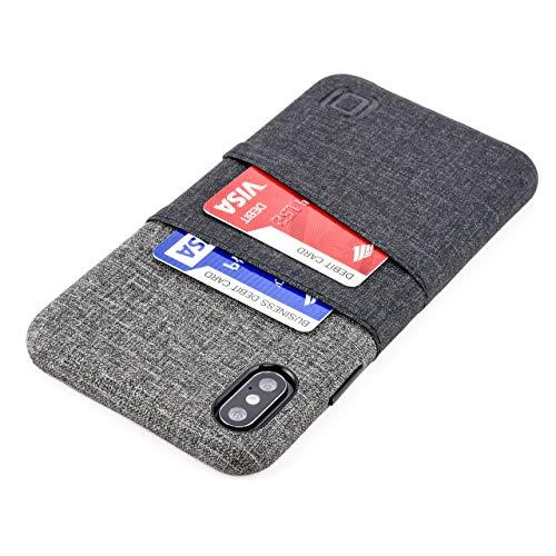 Dockem Luxe M2 Funda Cartera para iPhone XS MAX: Funda Tarjetero Slim con Placa de Metal Integrada para Soporte Magnético: Serie M [Negro y Gris]