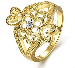 Ring of golden hearts with zircon for women size 8