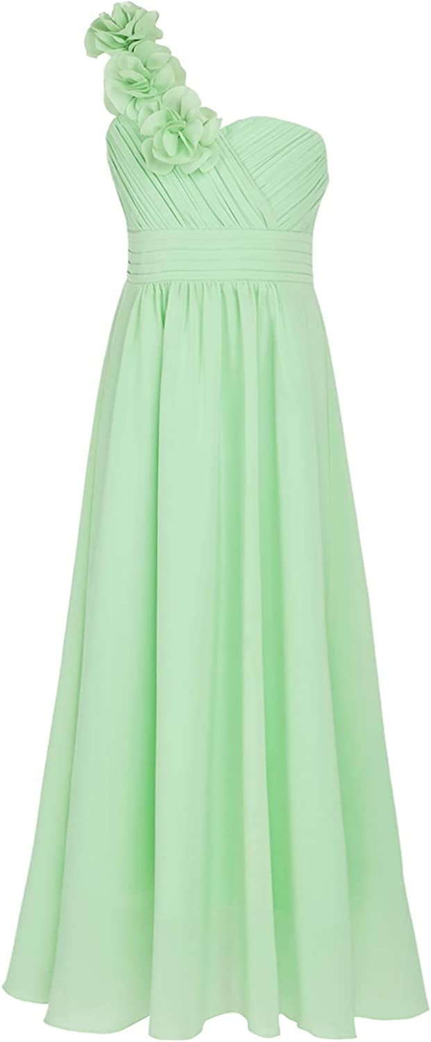 CHICTRY Chiffon One Shoulder Flower Girl Kids Junior Long Bridesmaid Wedding Party Gown Dresses