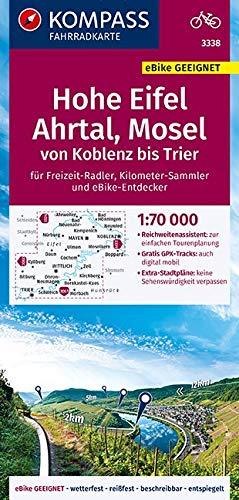KOMPASS Fahrradkarte Hohe Eifel, Ahrtal, Mosel, von Koblenz bis Trier 1:70.000, FK 3338: reiß- und wetterfest mit Extra Stadtplänen (KOMPASS-Fahrradkarten Deutschland, Band 3338)