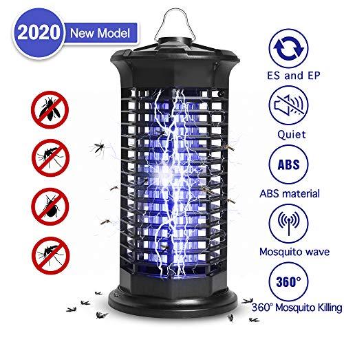 Elektrischer Insektenvernichter, Insektenkiller Moskito Killer mit UV-Licht Upgrade 2020 Fliegenkiller gegen Mückenlampe Schutz vor Elektrischem Schlag Tragbare 1000V Grid für Schlafzimmer Gärten