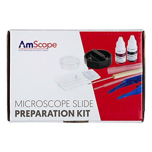 AmScope SP-14 - Kitdi vetrini per preparati microscopio, con coloranti