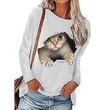 Camiseta De Manga Larga De Gato Multicolor con Cuello Redondo Y Manga Larga para Mujer De Moda