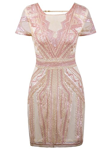 VIJIV Flapper Dresses 1920s Gatsby Art Deco Sequin Inspired Style Party Homecoming Dress Beige Pink M