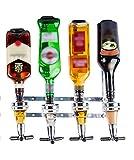 Liquor Dispenser - Wall Mounted Liquor Dispenser - 4 Bottle Liquor Dispenser - Professional Alcohol Dispenser Station - Portable Beverage Wine Racks Cocktail Dispenser Wine Holder