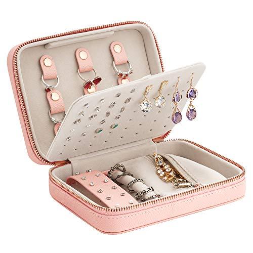 Joyero, organizador portátil de almacenamiento de anillos de doble capa de cuero de la joyería caso de regalo para las mujeres, collar pendientes anillos, rosa